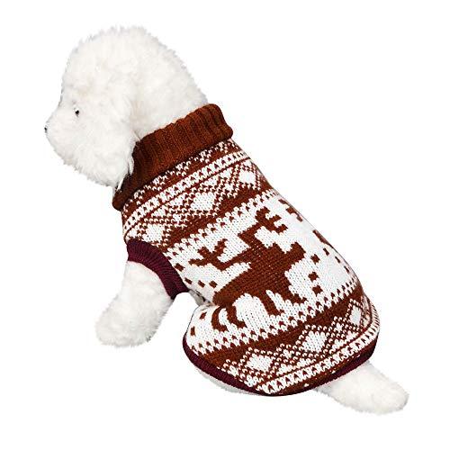 Amphia Haustier Kostüm - Haustier Hund Rollkragen, Haustier Hund Katze Winter Warm Rollkragenpullover Mantel Kostüm Bekleidung(Kaffee,XL)