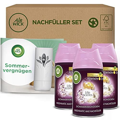 Air Wick Freshmatic Max – Nachfüller Set für das automatische Duftspray – Duft: Sommervergnügen – 3 x 250 ml Nachfüller