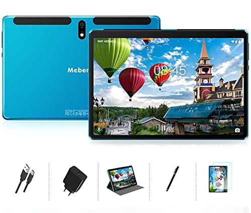 Tablette 10 pouces Android 10 - Tablette ultra-rapide MEBERRY 8 cœurs 4 Go de RAM + 64 Go de ROM - Certification Google GMS   8000mAh   WI-FI   Bluetooth   GPS   Type-C (caméra 5.0 + 8.0MP), Bleu