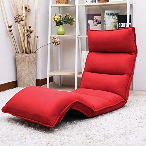 Merax Upholstered Lazy Sofa Floor Sofa Chair Folding Sofa Couch Lounger (Red)