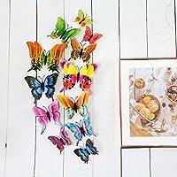 ウォールステッカーカラフルデカール新しい12個/セット3Dダブルレイヤープテリスバタフライマグネット冷蔵庫のカラフルな蝶ベッドルームリビングルームテレビウォールアートの装飾