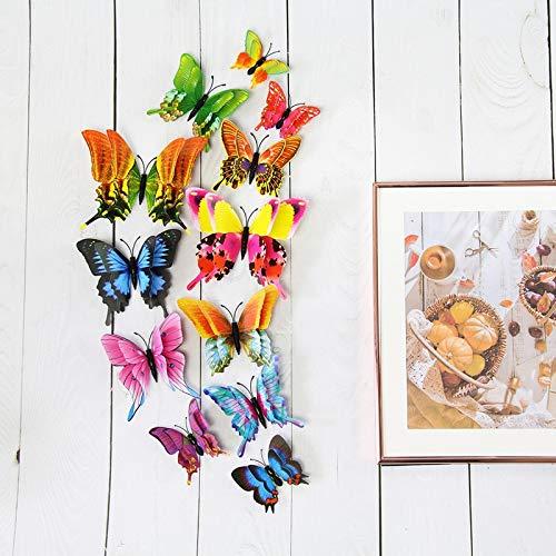 Neue 12 Stück/Set 3D Doppelschicht Pteris Schmetterling Wandaufkleber Wohnkultur Bunte Schmetterlinge an der Wand Magnet Kühlschrank Aufkleber
