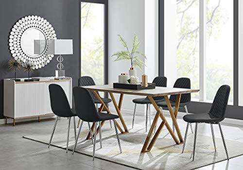 Furniturebox UK Taranto Oak Effect Dining Table and 6 Black Corona Silver Leg Chairs