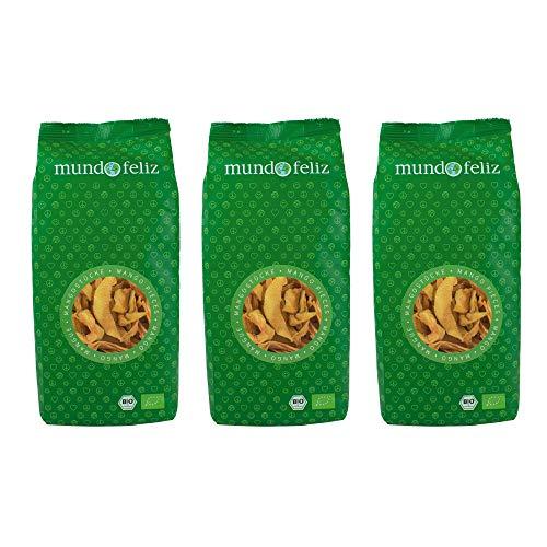 Mundo Feliz - Lot de 3sachets de morceaux de mangues séchées bio, 3x200g