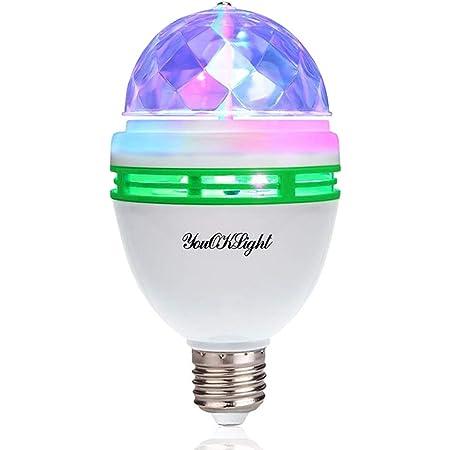 YouOKLight ミニレーザーステージ照明 カラフルミラーボールLED電球 口金直径26mm 3W RGB ステージ/ ディスコ/パーティー/KTV/カラオケ/クラブ/バー照明用ライト