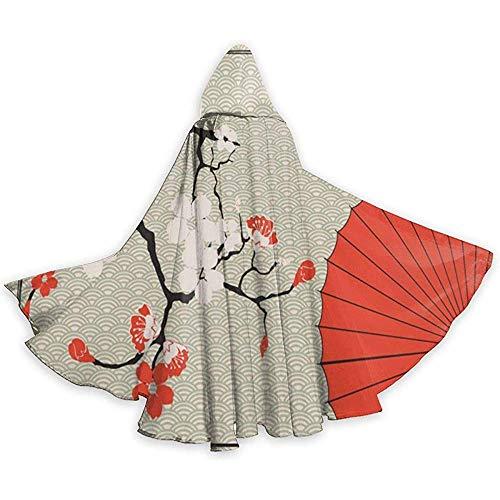 KDU Fashion Cape Hexe,Vintager Japanischer Regenschirm-Kirschblüten-Mit Kapuze Kap-Mantel-Personalisierte Zauberer-Mäntel Für Show-Party 40x150cm