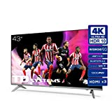 Televisiones Smart TV 43 Pulgadas 4k UHD Android 9.0 y HBBTV, 1300 PCI Hz, 3X HDMI, 2X USB....