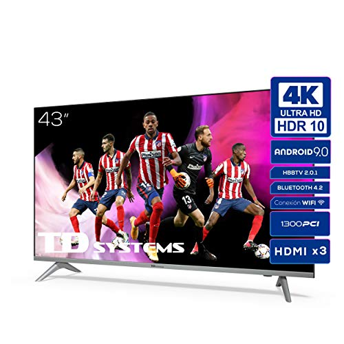 TD Systems K43DLJ12US - Televisores Smart TV 43 Pulgadas 4k UHD Android 9.0 y HBBTV, 1300 PCI Hz, 3X HDMI, 2X USB. DVB-T2/C/S2, Modo Hotel. Televisiones