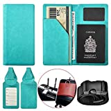 XEYOU Travel Wallet Passport Holder Soft Leather Passport Cover Case with 2 Matching Luggage Tags and Luggage Strap