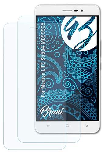 Bruni Schutzfolie kompatibel mit Medion Life S5504 MD99905 Folie, glasklare Bildschirmschutzfolie (2X)