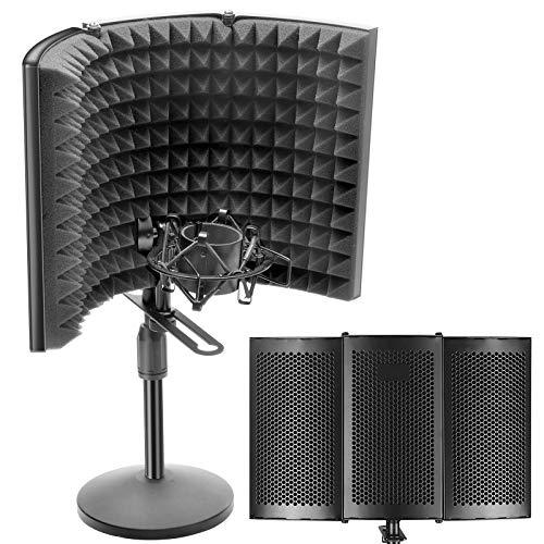 DIOKAYI Superficie de trabajo profesional con pantalla aislante para micrófonos, plegable, ajustable a largo plazo, panel aislante para mesa o montaje de pie.