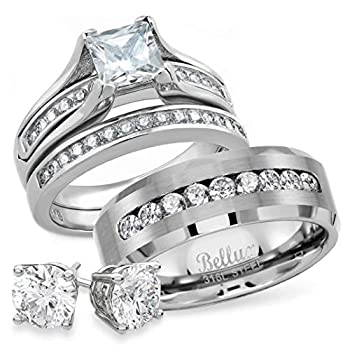 Wedding Rings Set for Him and Her Stainless Steel CZ Promise Rings Bands Bridal Jewelry for Couples  Women s Size 06 & Men s Size 11