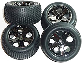 Traxxas RUSTLER VXL FRONT & REAR ALIAS TIRES & 12mm HEX BLACK CHROME WHEELS