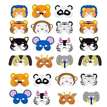 Animal Masks Kids Cartoon Masks - INTVN Foam Face Masks Halloween masks Dress-Up Party Favor 24 Pieces