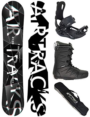 Airtracks Snowboard Set - Wide Board REFRACTIONS Game 161 - Softbindung Master - Softboots Star Black 47 - SB Bag