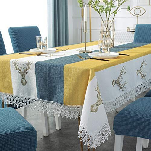 Manteles Mesa Rectangular Tela Algodon Lino con Borlas Mantel Antimanchas Elegante Table Cloth Rectangle para Mesa de Comedor de Cocina, Sirve para Las Mesas Cuadradas y Redondas (130 * 180 cm)