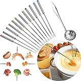 WLLL Tenedores para Fondue, Juego de 13 Tenedores de Queso de Postre de Acero Inoxidable con Mango Resistente al Calor, para Fiesta, Picnic, Camping, Cocina, Tenedores, Herramienta