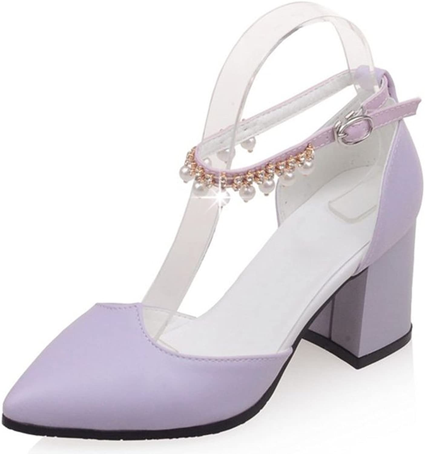 Kaloosh Women's Beautiful Pointed Toe Buckle Strap Beading Square Mid Heels Court shoes Party Pumps