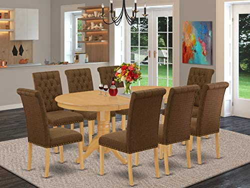 9Pc Dining Set Includes an Oval Dining Table with Butterfly Leaf and Eight Parson Chairs with Dark Coffee Fabric, Oak Finish