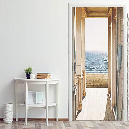 ANDD Meerblick Vor Der Tür 3D Wohnzimmer Fototapete Wandbilder Türposter Entfernbar Mauer Aufkleber Zuhause Dekor Türtapete Selbstklebend,82Cm X 200Cm