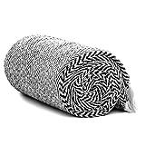 Americanflat 50' x 60' Zaina Throw Blanket in Black and White Herringbone - 100% Cotton with Fringe