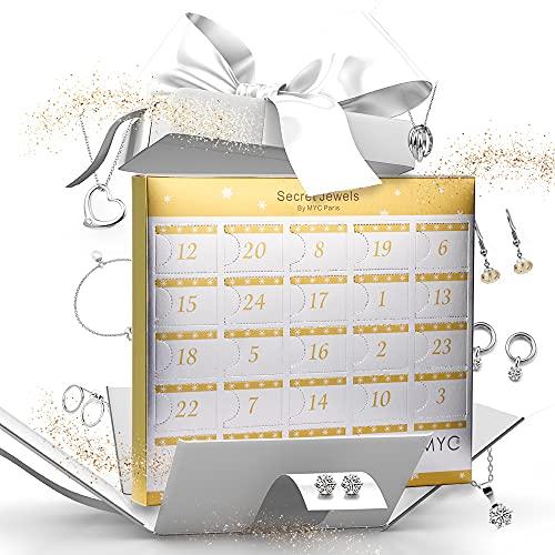 MYC-Paris - Calendrier de l'avent 24 Bijoux - Lovely - Coloris Argent - Bracelet + Pendentif + Boucles d'oreilles - Cristal d'Autriche Haute qualité - Cadeau d'anniversaire, Fête des Mères, Noël