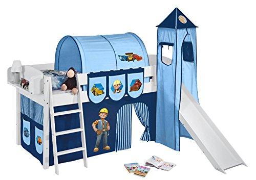Lilokids Sonderpreis Set Angebot - Spielbett IDA 4105 Bob der Baumeister mit Rutsche - Teilbares Systemhochbett Weiß - mit Vorhang, Turm, Tunnel & Taschen
