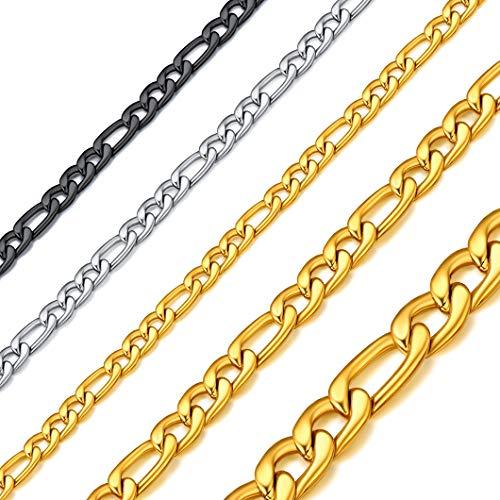 Richsteel Collar Italiano de Acero Inoxidable para Mujeres Hombres, 3/5/8mm Grosor 40cm - 81cm Largo [Platino/Dorado/Negro]