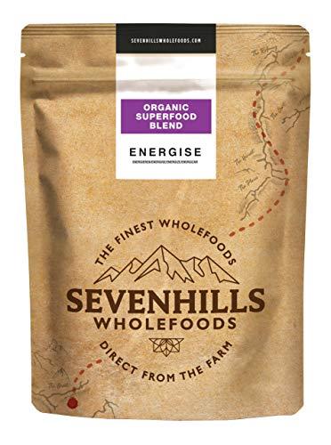 Sevenhills Wholefoods Energetisieren Bio-Superfood-Mischung (Hanfprotein, Baobab, Weizengras, Gerstengras, Matcha- und Moringapulver) 500g