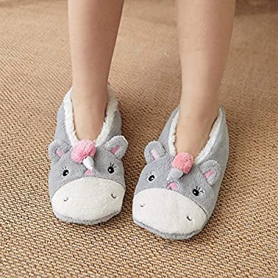 Zapatillas Niños Cálido Calcetines De Unicornio Con Estampado De Animales De Invierno, Pantuflas Cálidas Y De Suela Blanda, Zapatos De Piso Para Interiores, Divertidos Zapatos Antideslizantes Para
