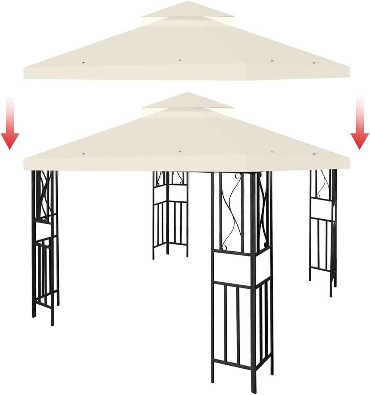Dare You 10' x New popularity Two Tier Credence Canopy Gazebo TOP Replacement Cover
