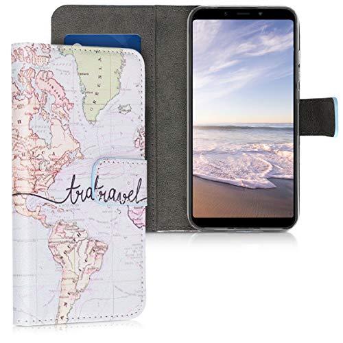 kwmobile Custodia Compatibile con Xiaomi Redmi 6 PRO/Mi A2 Lite - Cover Magnetica Portafoglio con Stand in Simil Pelle - Custodia Case Porta Carte - Mappa del Mondo Nero/Multicolore