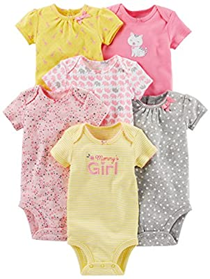 Simple Joys by Carter's Baby Girls 6-Pack Short-Sleeve Bodysuit, Pink/Yellow, 3-6 Months