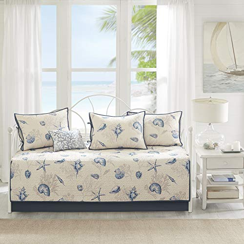 Madison Park Daybed Cover Double Sided Quilting Casual Design All Season Bedding Set with Bedskirt, Matching Shams, Decorative Pillow, 75'x39', Bayside, Coastal Seashell Blue
