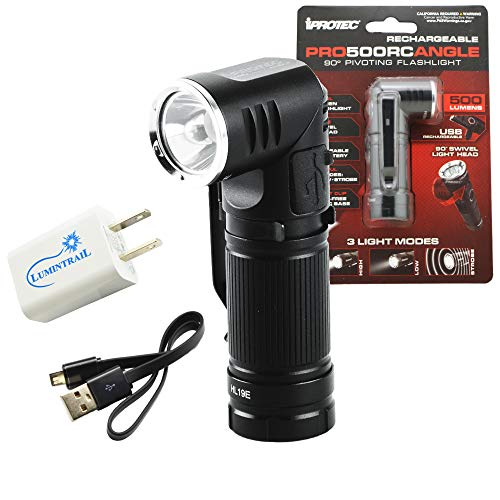 iProtec Pro500RCAngle Rechargeable Flashlight 500 Lumens, 90 Degree Pivoting Mini Led Light Bundle with a Lumintrail USB Wall Adapter