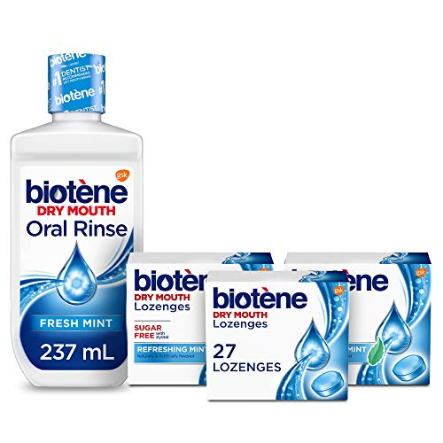 Biotene Fresh Mint Moisturizing Oral Rinse Mouthwash, Alcohol-Free, for Dry Mouth, 33.8 ounce & Biotene Dry Mouth Lozenges, Refreshing Mint, 81 Count -  biotène