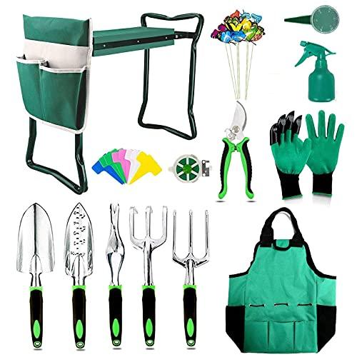 BESTHLS 2021 Garden Stool and Kneeler Set Include 2 in 1 Garden Seat Heavy Duty Gardening Kit & Gloves & Handbag & Tool Pouches Ideal Gift for Woman Men Garden Lovers