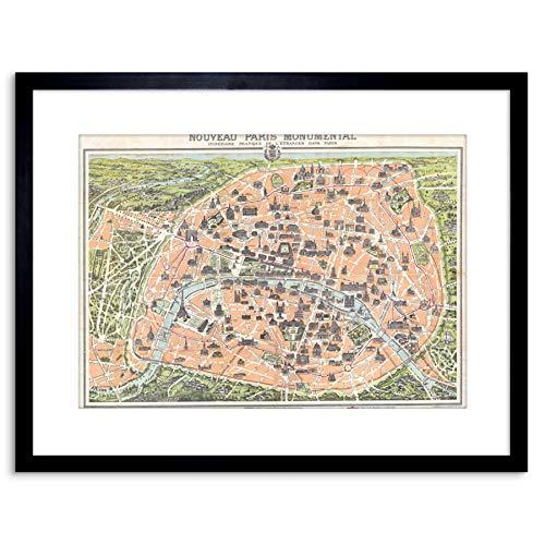 Wee Blauwe Coo MAP ANTIQUE GARNIER PARIJS TOURIST CITY PLAN Gekramd PRINT F97X3474