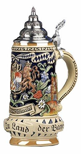 KING Boccale da Birra Tedesco Bavaria,Stemma Davanti, di Lato Monaco di Baviera, Motto Dio con Te, tu Paese dei bavaresi 0,5 Litri Ki 393 0,5L Bayern