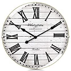 Westzytturm Wood Wall Clock 16 inches Luxury Curved Glass Roman Numeral Silent Large Wall Clock Rustic Battery Operated Non Ticking,Big Round Clocks for Wall Decor,Living Room,Kitchen,Office,White