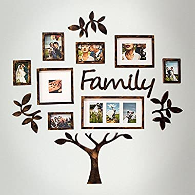 Jerry & Maggie - Photo Frame   Plaque College Frame - Wall Decoration Combination - Brown PVC Picture Frame Selfie Gallery Collage With Hanging Template & Wall Mounting Design   Family Tree