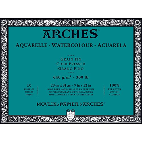 Arches Water Colour Block, 300 lb / 640GSM, Cold Pressed, 9' x 12'