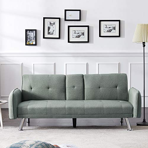 Merax Futon Bed Couch, Modern Sofa Sleeper Design for Living Room or Bedroom, Including Metal Legs and Upholstery Sofabed, Sage Green
