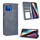 Lederhülle für Motorola Moto G 5G Plus Hülle, Flip Case Schutzhülle Handy mit Kartenfach Stand und Magnet Funktion als Brieftasche, Tasche Cover Etui Handyhülle für Motorola Moto G 5G Plus, Blau