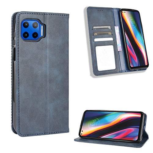 Lederhülle für Motorola Moto G 5G Plus Hülle, Flip Hülle Schutzhülle Handy mit Kartenfach Stand & Magnet Funktion als Brieftasche, Tasche Cover Etui Handyhülle für Motorola Moto G 5G Plus, Blau