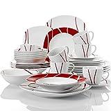 MALACASA, Serie Felisa,vajilla de Porcelana 36 Piezas Juegos de vajilla con 6 Platos Planos,6 Platos de Postre,6 Platos de Sopa,6 Tazas,6platillos,6 Cuencos de Cereales para 12 Personas