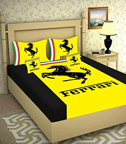 Mittal Hub Digital Velvet Double Bedsheet with 2 Pillow Cover & 2 Cushion (Size : 108 X 108 Inch_Color : Yellow Black)