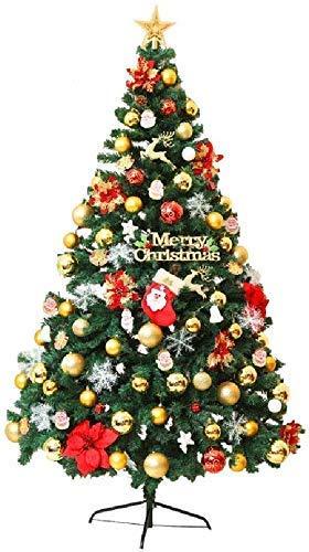 LIUSHI Decoraciones navideñas Árbol de Navidad Artificial, árboles llenos con bisagras con Luces LED, Adornos de Estrella para árboles y Soporte de Metal para decoración del hogar/Oficina/Mesa