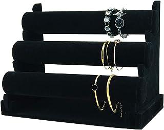 7TH VELVET 3 Tiers Bracelet Holder, Black Velvet Jewelry Organizer Stand, Detachable Bracelet Watch Stand Jewelry Tower