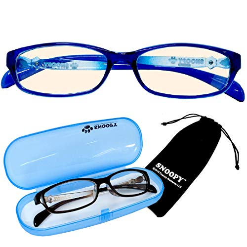 PCメガネ キッズ スヌーピー ブルー SNOOPY [巾着+ケース付] ブルーライトカット 子供 小さめ 大き目 女性用メガネ pcメガネ パソコン用眼鏡 サングラス ファッション [並行輸入品]